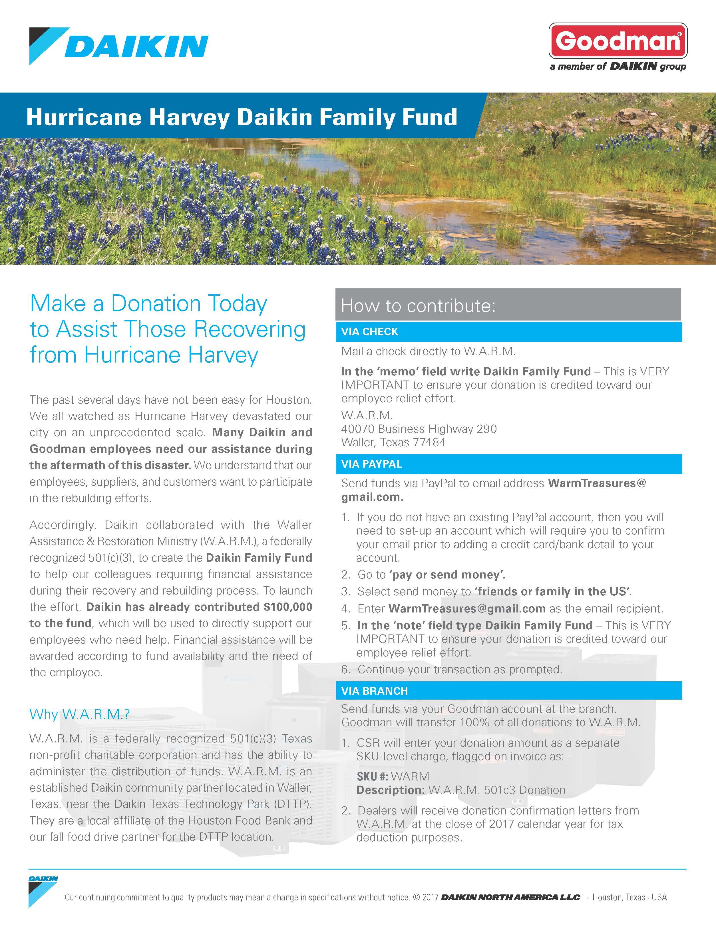 Daikin - WARM - Hurricane Harvey Relief Flyer - Air